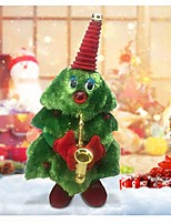 cheap -shaking christmas tree, cute singing & dancing christmas electric plush toys with guitar saxophone,battery operated musical plush interactive xmas doll kids gift for home decoration (b)