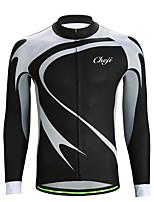 cheap -21Grams Men's Long Sleeve Cycling Jersey Jacquard Black / White Gradient Bike Jersey Top Mountain Bike MTB Road Bike Cycling Sweat-wicking Sports Clothing Apparel / Stretchy / Athleisure
