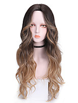 cheap -Synthetic Wig Curly Middle Part Wig Long Blonde Synthetic Hair 24 inch Women's Cool Color Gradient Fluffy Blonde