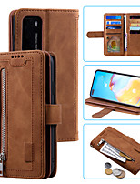 cheap -Case For Huawei Huawei P30 / Huawei P30 Lite / HUAWEI P40 Shockproof Full Body Cases Solid Colored PU Leather