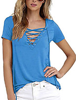 cheap -women's sexy lace up long sleeve plain tshirts casual criss cross v neck tee tops(bl,s)