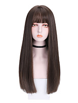 cheap -Synthetic Wig Straight With Bangs Wig Medium Length Dark Brown Brown Black Synthetic Hair 20 inch Women's Soft Comfy Black Brown