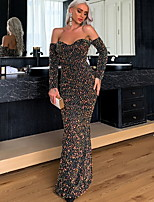 cheap -Sheath / Column Sexy bodycon Prom Formal Evening Dress Off Shoulder Long Sleeve Floor Length Sequined with Sequin 2020