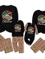 cheap -Family Look Santa Claus Graphic Letter Print Long Sleeve Regular Regular Clothing Set Black