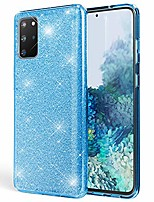 cheap -glitter cover compatible with samsung galaxy s20 plus case, protective sparkly rugged rhinestone bling phonecase, slim shiny shockproof bumper sturdy skin protector shell, color:cyan