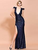 cheap -Sheath / Column Sexy bodycon Prom Formal Evening Dress V Neck Sleeveless Floor Length Sequined with Split 2020