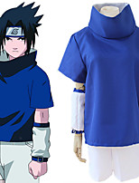 cheap -Inspired by Naruto Uchiha Sasuke Anime Cosplay Costumes Japanese Cosplay Suits Top Sleeves Shorts For Men's