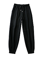 cheap -Women's Sporty Basic Comfort Daily Going out Jogger Sweatpants Pants Solid Colored Full Length Pocket Drawstring Black Khaki Brown