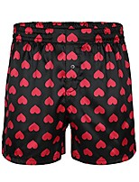 cheap -men's lip print satin silk boxer shorts loose sports lounge underwear black love heart m