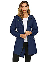 cheap -hooded rain jacket for women, waterproof lightweight raincoat outdoor hiking long rain coat blue