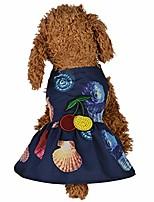 cheap -pet dog cat dress,pet hawaiian style clothes conch beach skirt summer bottoming print dress clothes only for small dog skirt rabbit dress mini pig costumes (deep blue, s)