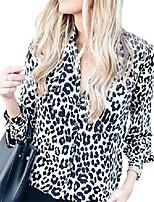 cheap -women leopard print blouse sexy v neck button down long sleeve tunic tops(3xl,white-1)