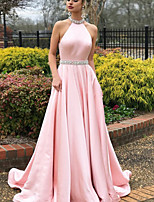 cheap -A-Line Beautiful Back Sexy Engagement Prom Dress Halter Neck Sleeveless Sweep / Brush Train Satin with Pleats 2020