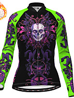 cheap -21Grams Women's Long Sleeve Cycling Jersey Winter Fleece Polyester Purple Yellow Blue Skull Christmas Bike Jersey Top Mountain Bike MTB Road Bike Cycling Fleece Lining Warm Quick Dry Sports Clothing