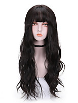 cheap -Synthetic Wig Curly With Bangs Wig Long Brown Blonde Pink Black Synthetic Hair 24 inch Women's Comfy Fluffy Pink Brown