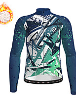 cheap -21Grams Men's Long Sleeve Cycling Jacket Winter Fleece Polyester Blue Geometic Bike Jacket Top Mountain Bike MTB Road Bike Cycling Thermal Warm Fleece Lining Breathable Sports Clothing Apparel