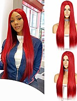 cheap -red long synthetic straight wig for women straight middle part natural long hair wigs synthetic heat resistant full wig for daily use