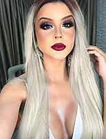 cheap -long platinum blonde wig straight ombre blonde wigs for women synthetic middle part wig 30 inch (ombre platinum blonde)