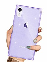 cheap -iphone xr square case, clear bling glitter cover, protective soft tpu anti-shock cushion square corners for apple iphone xr 6.1 inch (purple)