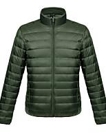 cheap -Men's Sports Puffer Jacket Hiking Down Jacket Winter Jacket Top Outdoor Lightweight Windproof Breathable Quick Dry Autumn / Fall Winter Fleece Light Gray Wine ArmyGreen Fishing Climbing Camping