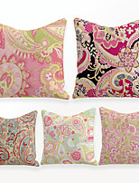 cheap -Cushion Cover 5PCS Linen Soft Decorative Square Throw Pillow Cover Cushion Case Pillowcase for Sofa Bedroom 45 x 45 cm (18 x 18 Inch) Superior Quality Mashine Washable Vintage Pink Floral Printed