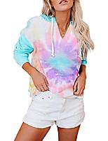 cheap -women's tie dye v-neck long sleeve hooded sweatshirt drawstring pullover tops