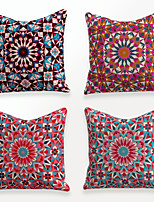cheap -Cushion Cover 4PCS Linen Soft Decorative Square Throw Pillow Cover Cushion Case Pillowcase for Sofa Bedroom 45 x 45 cm (18 x 18 Inch) Superior Quality Mashine Washable Vintage Floral Printed