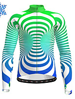 cheap -21Grams Men's Long Sleeve Cycling Jersey Winter Fleece Polyester Red Green Stripes Bike Jersey Top Mountain Bike MTB Road Bike Cycling Fleece Lining Warm Quick Dry Sports Clothing Apparel / Stretchy
