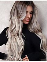 cheap -Synthetic Wig Bouncy Curl Middle Part Wig Long Grey Synthetic Hair Women's Soft Elastic Ombre Hair Dark Gray