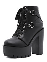 cheap -Women's Boots Chunky Heel Round Toe Booties Ankle Boots Daily Walking Shoes PU Rivet Lace-up Solid Colored Black / Booties / Ankle Boots
