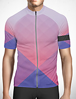 cheap -CAWANFLY Men's Short Sleeve Cycling Jersey Polyester Blue Gradient Bike Jersey Top Mountain Bike MTB Road Bike Cycling Quick Dry Reflective Strips Sweat-wicking Sports Clothing Apparel / Stretchy