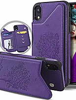 cheap -iphone xr wallet case for women with card holder, cute folio flip slim vintage embossed butterfly flower leather girly wallet purse magnetic closure full body protective stand cover (violet)