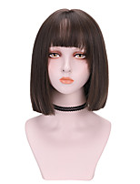 cheap -Synthetic Wig Straight With Bangs Wig Medium Length Brown Blue Black Synthetic Hair 12 inch Women's Cool Comfy Blue Brown