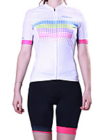 cheap -21Grams Women's Short Sleeve Cycling Jersey with Shorts Polyester White Polka Dot Bike Clothing Suit Breathable 3D Pad Quick Dry Reflective Strips Back Pocket Sports Polka Dot Mountain Bike MTB Road
