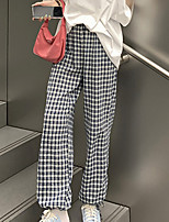 cheap -Women's Sporty Streetwear Comfort Daily Going out Jogger Sweatpants Pants Plaid Checkered Full Length Print Blue