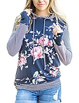 cheap -women's floral print hoodie long sleeve striped sweatshirt pullover blue xxl