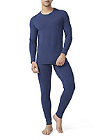 cheap -men's cotton fleece lined shu velveteen stripe ultra soft winter warm top & bottom thermal set long john with fly (l, navy blue stripe)