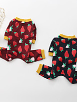 cheap -Dog Pajamas Strawberry Printed Fashion Cute Casual / Daily Winter Dog Clothes Puppy Clothes Dog Outfits Breathable Red Blue Costume for Girl and Boy Dog Cotton S M L XL XXL 3XL