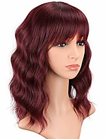 cheap -short wine red wavy wigs with bangs for women shoulder length synthetic bob curly wigs burgundy wavy wigs