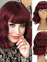 cheap -hair synthetic curly bob wig with bangs short bob wavy hair wig wine red color bob style cosplay wigs for women (off black) (wine red)