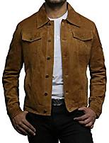 "cheap -mens genuine leather biker jacket vintage shirt style (l - (fits chest: 42-43""), tan)"