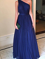 cheap -A-Line Beautiful Back Sexy Wedding Guest Formal Evening Dress One Shoulder Sleeveless Floor Length Tulle with Pleats 2020