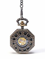 cheap -pocket watch unisex pocket watch old-fashioned mechanical pocket watch octagonal creative flip openwork back mechanical watch retro pocket watch with chain