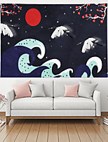 cheap -Japanese Painting Style Ukiyo-e Wall Tapestry Art Decor Blanket Curtain Hanging Home Bedroom Living Room Decoration Polyester Mountain Sun Sea Wave Plant