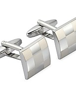 cheap -- classic silver cufflinks set for french sleeve dress shirts