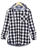cheap -women's flannel plaid shirts full lined checked button down hooded shirt (grey, x-small)
