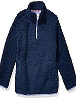 cheap -toddler girl's polar fleece lined sherpa quarter-zip jacket, washed navy, 2t