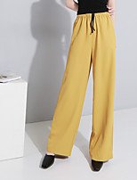 cheap -Women's Basic Streetwear Comfort Daily Going out Pants Chinos Pants Solid Colored Full Length Black Yellow