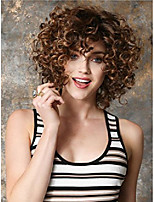 cheap -dark brown short afro kinky curly hair wigs for women synthetic hair look same with human hair cosplay costume party wig (wig head circumference size is 20-25 inches)