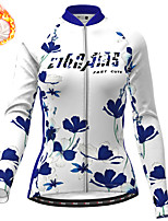 cheap -21Grams Women's Long Sleeve Cycling Jersey Winter Fleece Polyester Red Blue Green Floral Botanical Christmas Bike Jersey Top Mountain Bike MTB Road Bike Cycling Fleece Lining Warm Quick Dry Sports